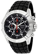 Seiko Chronograph Black Dial Stainless Steel Black Rubber Mens Watch SNDD73P2