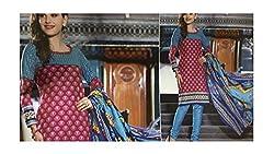 Elegant Attyres Women's Cotton Unstitched Dress Material (Elegant Attyres_2_Turqoise_Free Size)