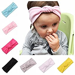 ZHW Baby Girl\'s Cotton Turban Headband Hair Flower Hairband 7 pack