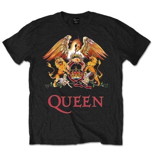 Queen - Classic Crest, T-shirt da uomo, nero (schwarz - schwarz), L