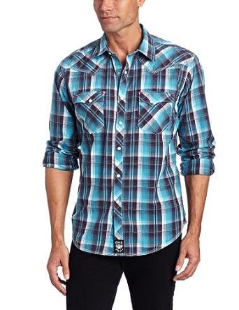 Wrangler Men's Rock 47 Dobby Plaid Western Shirt, Turquoise/Charcoal, X-Large