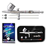 Master Airbrush® G233-SET Multi-Purpose Precision Dual-Action Gravity Feed Airbrush Professional Set, With All 3 Tip & Needles(.2,.3 & .5), and Now a