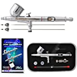 Master Airbrush® G233-SET Multi-Purpose Precision Dual-Action Gravity Feed Airbrush Professional Set, With All 3 Tip & Needles(.2,.3 & .5), and Now a (FREE) How to Airbrush Training Book to Get You Started, Published Exclusively By Master Airbrush.