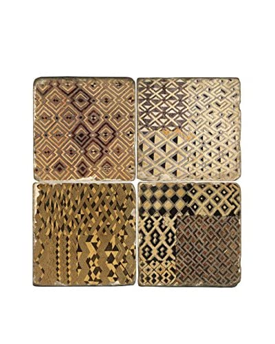 Studio Vertu Set of 4 African Kuba Cloth Tumbled Marble Coasters with Stand