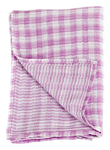 "Lulujo Baby Reversible Muslin Cotton Swaddles Blanket, Passion Pink, 47"" x 47"""