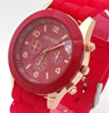 Red Geneva Ladies/Girls Silicone Watch. Decorative 3 Eyes. 16-22cm Strap. 4cm Dial