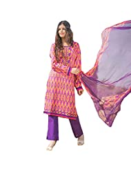 AliColours Women's Pure Chiffon Embriodered Patch Work Printed Suit (Suit-AliMyra1006_Multicoloured_Free Size)...