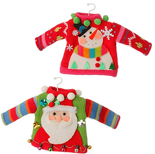 Raz Import Christmas Decor - Ugly Knit Sweater Ornaments 2pc. #3520092