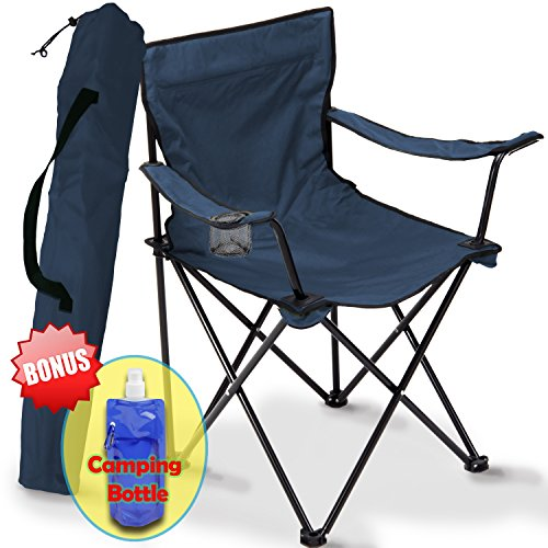 Folding Camping Chair, Portable Carry Bag for Storage and Travel, Best Durable Outdoor Quad Beach Chairs, Comfortable Arms, Space Saving,