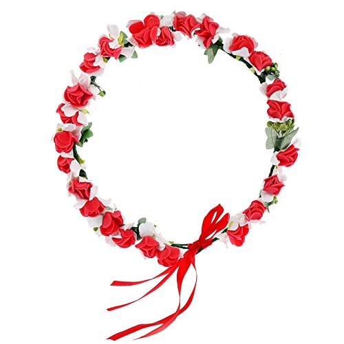 AWAYTR Flower Wreath Headband Floral Crown Garland Halo for Wedding Festivals (Red)