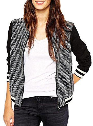 ACHICGIRL Women's Color Block Striped Bomber Jacket, Multicolored XS