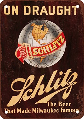 Schlitz Beer on Draught Vintage Look Reproduction Metal Sign (Schlitz Beer compare prices)