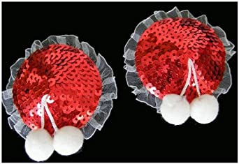Lily's Design Sexy Red Sequin Nipple Cover Nipple Tassels Pasties Christmas Nipple Cover