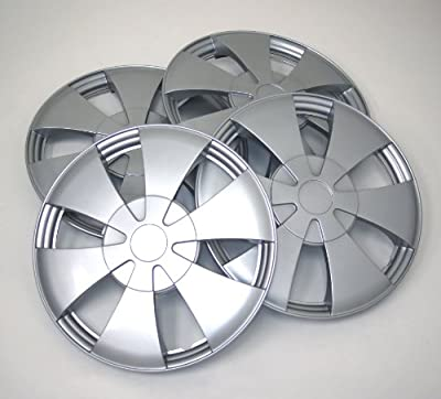 TuningPros WSC-717S14 Hubcaps Wheel Skin Cover 14-Inches Silver Set of 4