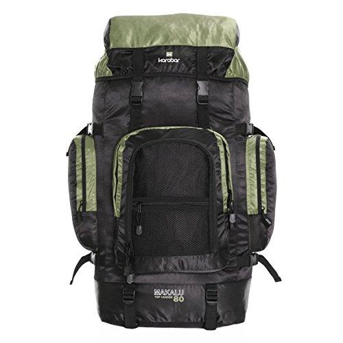 Karabar Makalu 80 litri zaino da viaggio trekking - 10 anni di garanzia, Verde