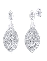 Peora Valentine Sterling Silver Rhodium Micro Pave CZ Marquise Dome Statement Danglers With Push Back (PE5028)...
