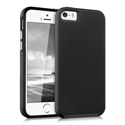 kalibri-Armor-Hlle-fr-Apple-iPhone-SE-5-5S-TPU-Silikon-und-Kunststoff-Case-in-Schwarz