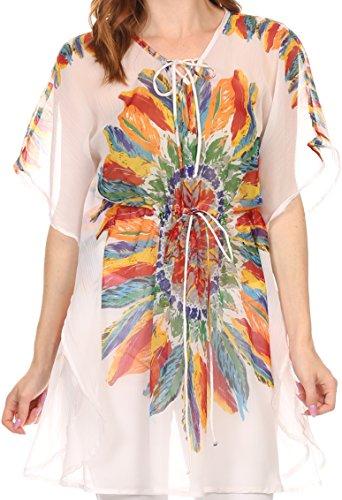 Sakkas 5670Feather - Vilvetta Lunga vita larga regolabile Poncho camicetta superiore Feather Stampa CoverUp - Bianco - OS
