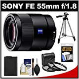 Sony Alpha E-Mount Sonnar T* FE 55mm f/1.8 ZA Lens with NP-FW50 Battery + 3 UV/CPL/ND8 Filters + Tripod Kit for Alpha A7 & A7R Cameras