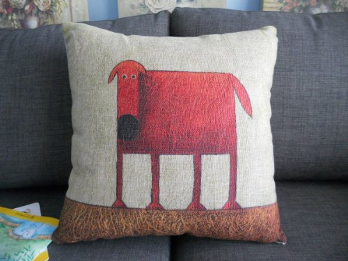 Throw Pillow Website : Decorbox Cotton Linen Square Decorative Throw Pillow Case Cushion Cover Green Background Red Dog ...