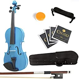 Mendini 3/4 MV-Blue Solid Wood Violin with Hard Case, Shoulder Rest, Bow, Rosin and Extra Strings