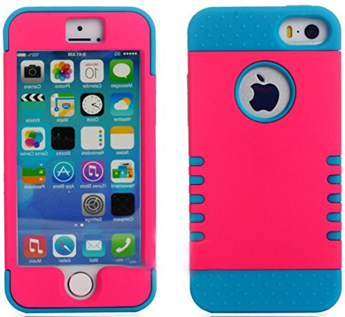 Mylife Electric Blue And Hot Magenta - Shield Armour Series (Neo Hypergrip Flex Gel) 3 Piece Case For Iphone 5/5S (5G) 5Th Generation Smartphone By Apple (External 2 Piece Fitted On Hard Rubberized Plates + Internal Soft Silicone Easy Grip Bumper Gel)