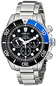 """Seiko Men's SSC017 """"Solar Dive"""" Stainless Steel Dive Watch"""