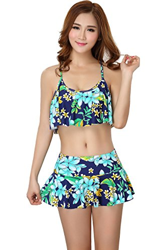 Womens Tankini Swimsuit Bikini Padded Bathing Suits Lotus Leaf Cover Up for Girl