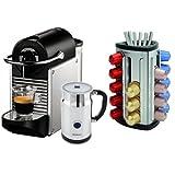 Nespresso Pixie D60 Electric Aluminum Espresso Machine with Bonus Aeroccino Plus and Bonus 30 Capsule Carousel