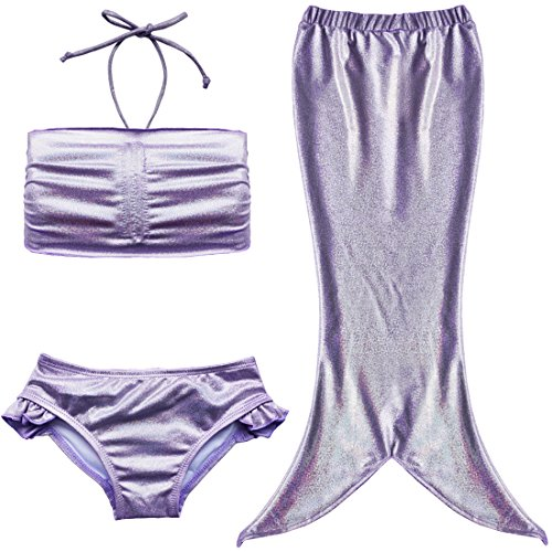 Tiaobug Badeanzug Mädchen Bademode Meerjungfrau-Schwanz Flosse Kostüm Kleinkinder / Baby / Mädchen Bikini Set (92-98 (Herstellergröße 90), Lila)
