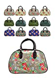 Nelly Beare Handbags: Latest Designer Print Faux Leather Vintage Holdall Cabin Flight Overnight Bag Wheeled Trolley With Pull Out Handle. (Grey Floral)