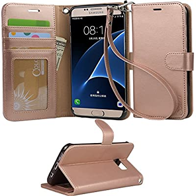 Galaxy s7 Case, Arae [Wrist Strap] Flip Folio [Kickstand Feature] PU leather wallet case with ID&Credit Card Pockets For Samsung Galaxy S7