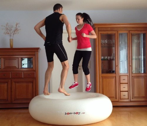 bOm-bOy the Novelty! trampoline - gymnastic exercise - balance board, diameter 6ft, up to 500 kg load, Colour Blue
