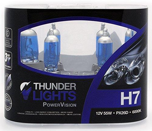 H7 Lampen - H7 KFZ Lampe 6000K - H7 Autolampe - Xenon Scheinwerferlampe 12V 55W PX26d S/W - Weißes Licht - 100% mehr Licht auf der Straße - Sportlicher Xenonlook