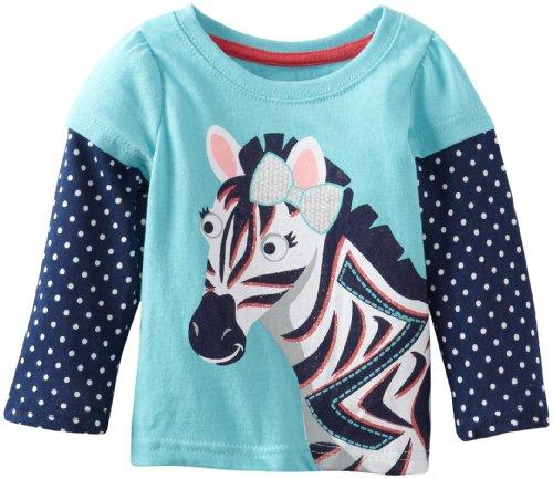 Watch Me Grow! by Sesame Street Baby-Girls Infant 1 Piece Zebra Pullover, Aqua, 12 Months