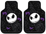 Nightmare Before Christmas Jack Skellington Purple Bats and Cross Bones Tim Burton Disney Car Truck SUV Front Seat Rubber Floor Mats - PAIR
