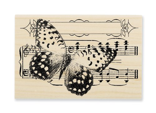 "Stampendous Wooden Handle Rubber Stamp, ""Butterfly Tune"""