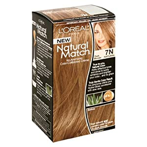 L'Oreal Natural Match No-Ammonia Color-Calibrated Creme, Dark Blonde, 7N Natural