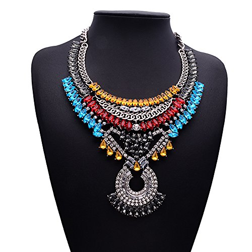 Girl Era Hot Fashion Retro Jewelry Pendant Luxury Egyptian Style Women Clavicle Chain Necklace(Colorful)