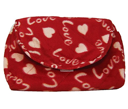 Cuddly Toys Soft Plush Double Purse With Love Print (Red)