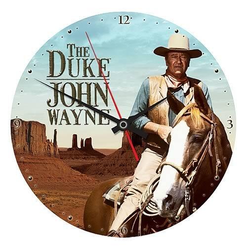 Vandor 13-1/2 by 1-1/2 by 13-1/2-Inch John Wayne Cordless Wood Wall Clock, Multicolored