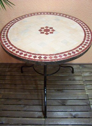 marokkanischer Gartentisch Bilbao Natur/ Bordaux 80cm günstig online kaufen
