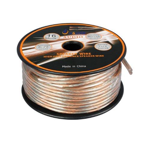 Aurum Cables 16 Gauge Outdoor Speaker Zip Wire - Direct Burial W/ Sequential Ft Markings Every 5 Ft - 50 Feet
