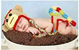 Newborn Baby Girl Boy Crochet Sock Monkey Hat Cape Beanie Diaper Cover Outfit Set Costume Photo Prop