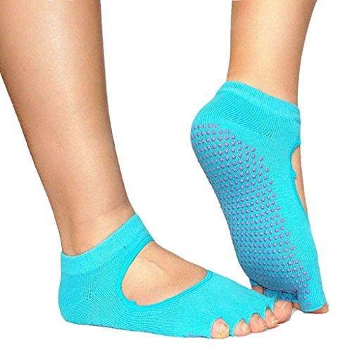 Sannysis® Backless casa Yoga Toe Fiver calzini della barretta, calzini antiscivolo Yoga (Cielo blu)