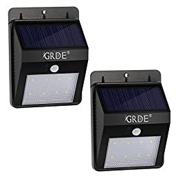 [Bigger 8LED] 2 Pack Wireless Solar Motion Sensor Light Outdoor Waterproof Security Solar Wall Light-Motion Detector with Bright/ Dim Mode; Day/ Night Auto ON/OFF for Deck Garden Outside Wall(2 Pack)