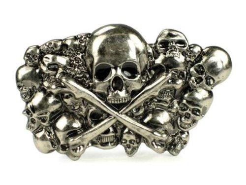 Pewter Skulls with Cross Bone Belt Buckle
