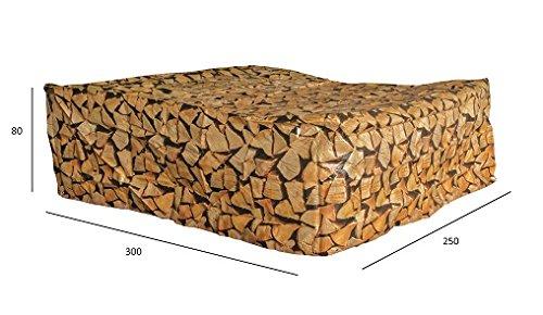 Luxus Schützhülle für XXL Gartenmöbel-Lounge Set , Schutzabdeckung mit einzigartigem Brennholz Druck, Schwerlast 220 gr/m2