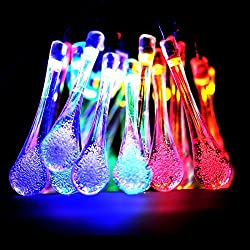 Solar Outdoor String Lights,collee 20ft 20 LED Water Drop Solar String Fairy Waterproof Lights Christmas Lights Solar Powered String lights for Garden, Patio, Yard, Home, Christmas Tree, Parties