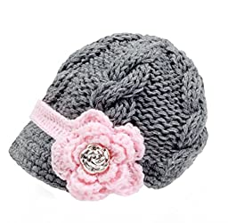Bestknit Handmade Newborn Toddler Baby Girls Crochet Knit Brim Cap Hat Small Grey